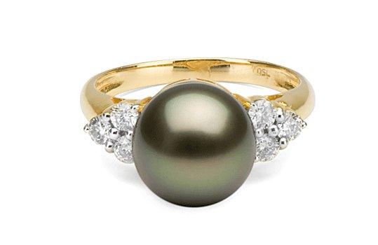 Bague or 18k et diamants avec une perle de culture de tahiti