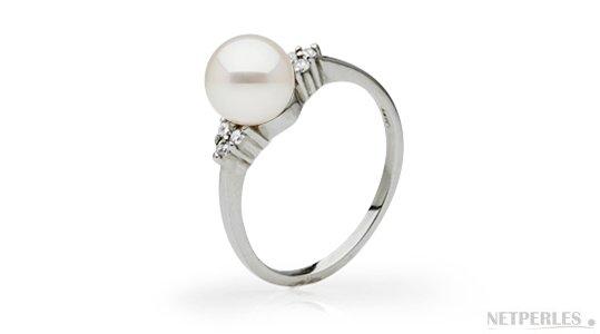 Bague Or Gris Argent Diamants et perle de culture Doucehadama