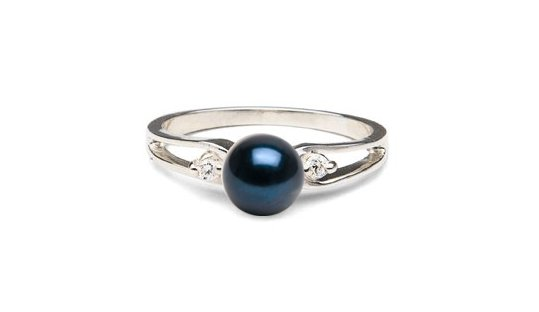 Bague Virgule en Argent 925 avec diamants et perle d'Akoya noire