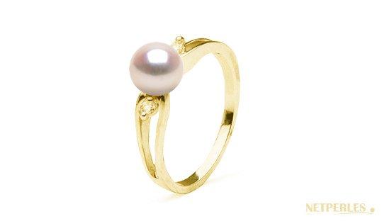 Bague Virgule en or jaune diamant et perle d'Akoya
