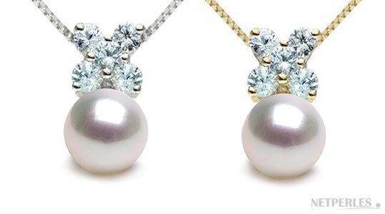 Pendentif Or Gris et Or Jaune, Diamants, perle d'Akoya 9-9,5 mm AAA