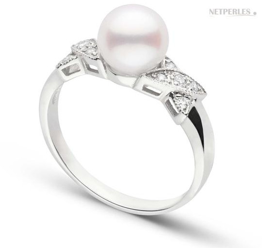 Bague BISOU Or Gris Diamants perle d'Akoya