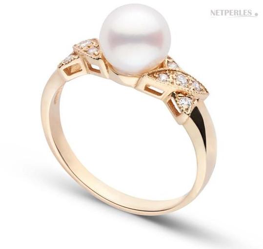 Bague BISOU Or Jaune Diamants perle d'Akoya
