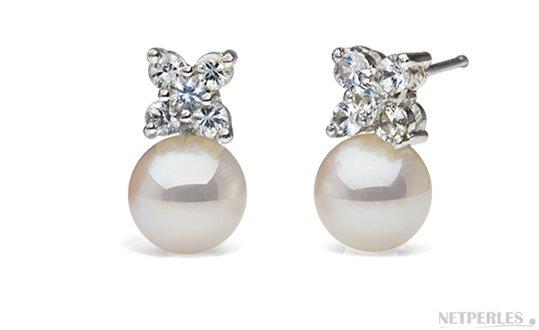 Boucles d'oreilles de perles d'Akoya AAA en Or gris et diamants