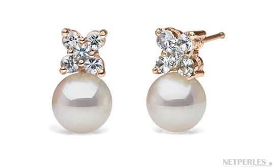 Boucles d'oreilles de perles d'Akoya AAA en Or rose et diamants