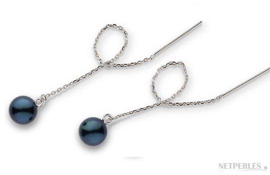 Paire de boucles d'Oreilles en Or Gris avec perles de culture d'Akoya noires