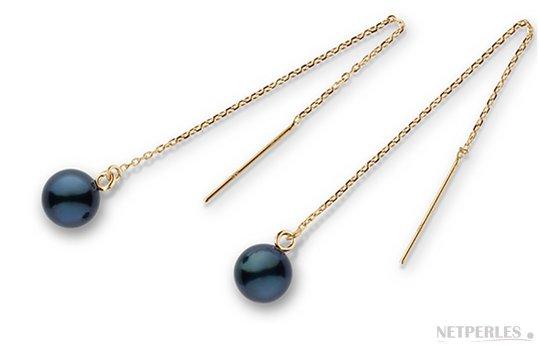 Paire de boucles d'Oreilles en Or Jaune avec perles de culture d'Akoya noires