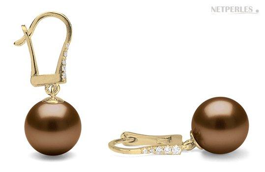 Boucles d'oreilles diamants et perles chocolat