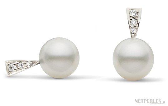 Boucles d'oreilles de perles d'Australie blanches argentées avec diamants