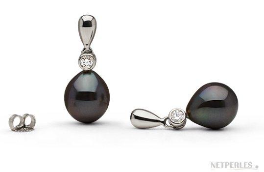 Boucles d'oreilles Or Gris Diamants et Perles de Tahiti Gouttes AAA