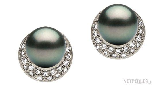 Boucles d'oreilles de perles perles de Tahtiti AAA en Or Gris