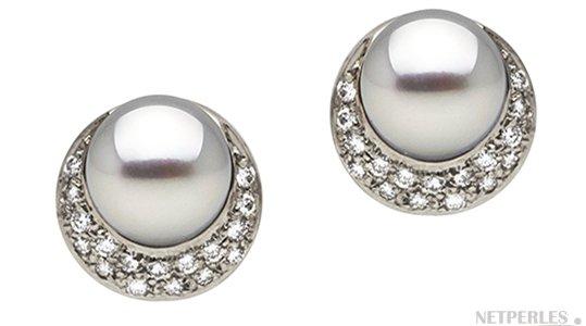 Boucles d'oreilles de perles d'Akoya AAA en Or Gris