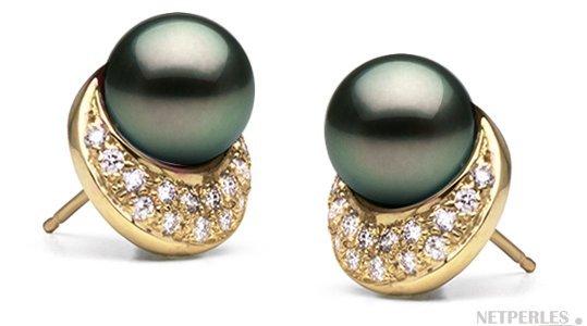 Boucles d'oreilles de perles de Tahtiti AAA en Or jaune et diamants