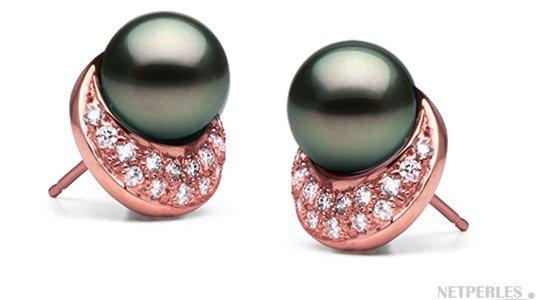 Boucles d'oreilles de perles de Tahtiti AAA en Or Rose
