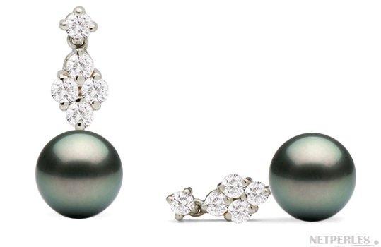 Boucles d'oreilles en Or Diamants et Perles de Tahiti AAA