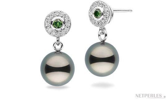 Boucles d'oreilles en Or  Gris 14 carats avec perle de culture de Tahiti et diamants verts et blancs