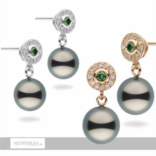 Boucles d'oreilles en Or 14 carats avec perles de culture de Tahiti et diamants verts et blancs