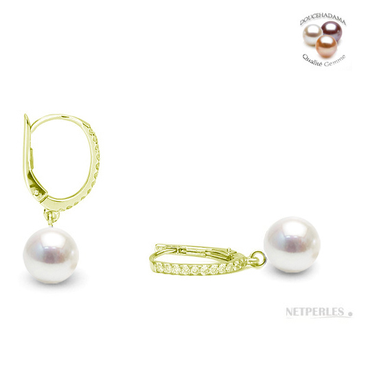 Boucles d'oreilles en Or jaune avec diamants et perles de culture d'Eau Douce blanches qualité AAA DOUCEHADAMA
