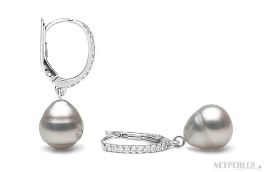 Boucles d'oreilles avec perles d'Australie baroques