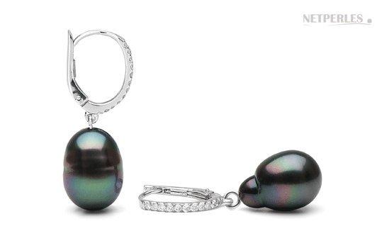 Pair de boucles d'oreilles avec perles baroques de Tahiti