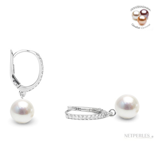 Boucles en Or gris 14 carats avec diamants et perles de culture d'Eau Douce qualite DOUCEHADAMA