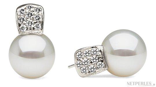 Boucles d'oreilles en Or Gris et diamants avec perles de culture d'Australie AAA