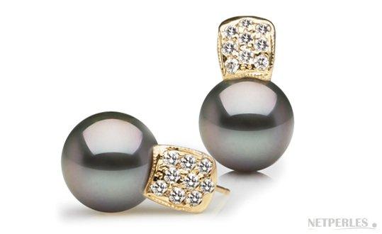 Boucles d'oreilles en Or Jaune Diamants et Perles de Tahiti AAA