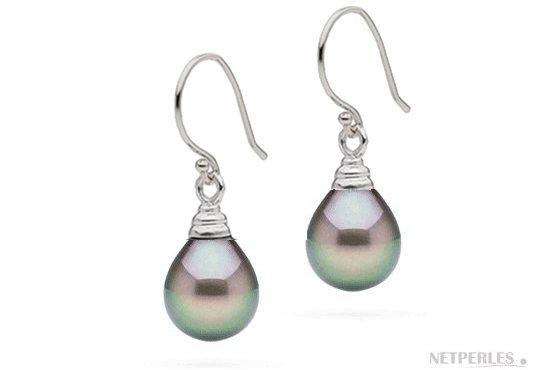 Boucles d'oreilles Or Gris et Perles de Tahiti Gouttes AAA