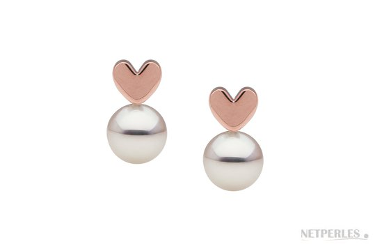 Boucles d'oreilles en Or Rose en forme de Coeur avec perles de culture d'Akoya blanches