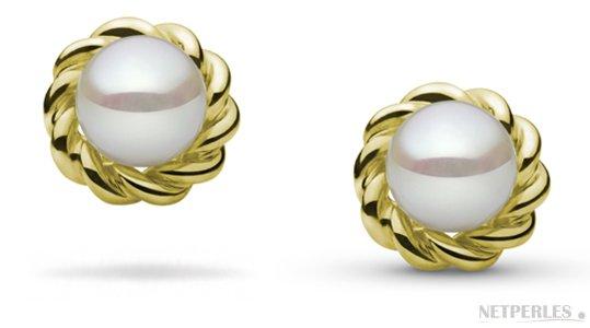 Boucles d'oreilles de perles de culture Akoya avec accessoires amovibles en Or Jaune
