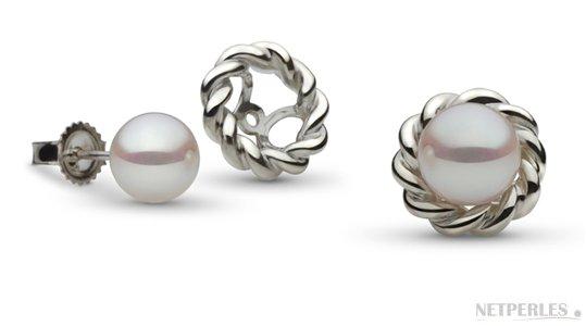 Boucles d'oreilles de perles de culture Akoya avec accessoires amovibles en Or Gris