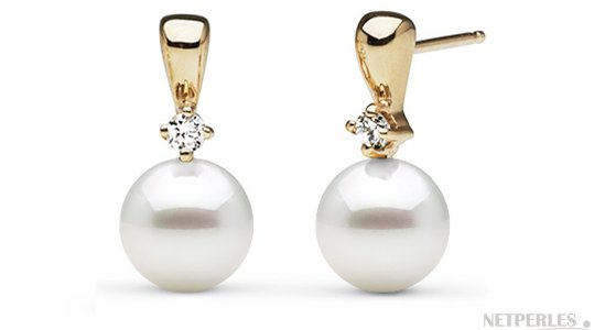 Boucles d'oreilles en or jaune et diamants avec perles d'Akoya 7,5-8 mm AAA