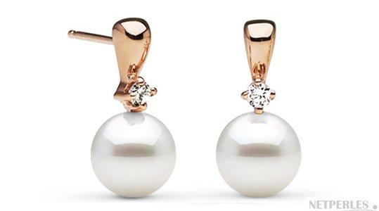Boucles d'oreilles en or rose et diamants avec perles d'Akoya 7,5-8 mm AAA