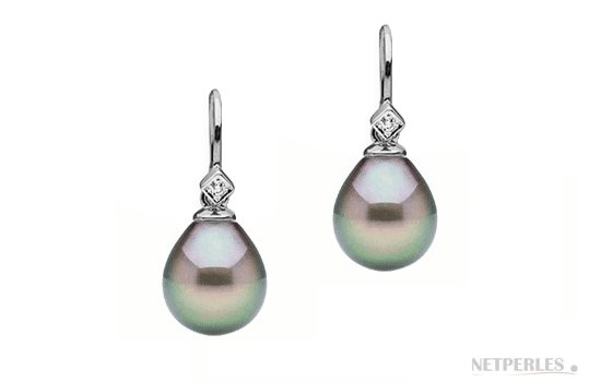 Boucles d'oreilles Or Gris avec diamants et Perles de Tahiti Gouttes AAA
