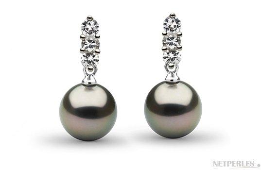 Boucles d'oreilles en Or Gris avec  Diamants et Perles de Tahiti AAA