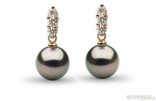 Boucles d'oreilles en Or Jaune avec  Diamants et Perles de Tahiti AAA