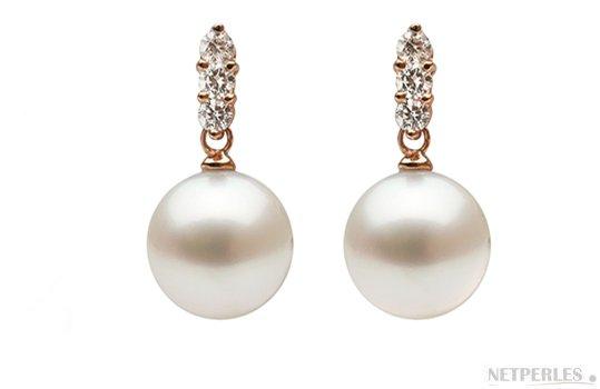 Boucles d'oreilles en Or Rose avec diamants et perles d'Australie blanches argentées
