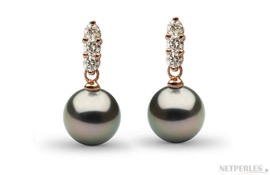 Boucles d'oreilles en Or Rose avec  Diamants et Perles de Tahiti AAA