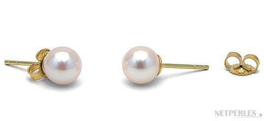 Boucles d'oreilles de perles blanches d'Akoya