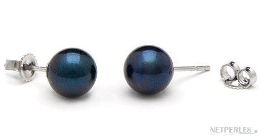 Boucles d'oreilles de perles d'Akoya noires aux reflets bleus