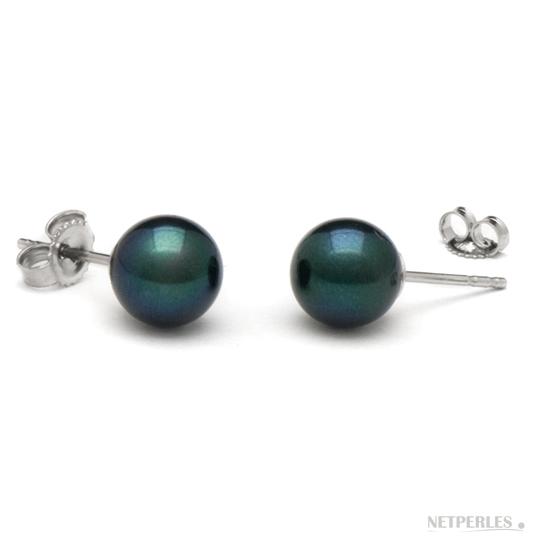 Paire de boucles d'Oreilles de perles de culture d'AKoya noires qualité AA+