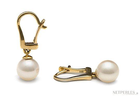 Dormeuses en or avec perles de coulture d'Akoya