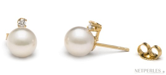 Boucles d'oreilles de perles d'Akoya avec diamants