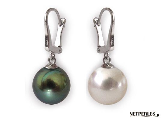 paire de boucles d'oreilles de perles de culture d'australie et de tahiti
