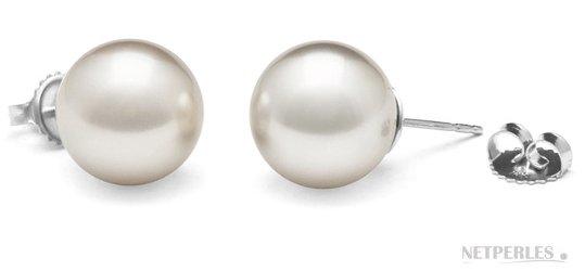 Paire de boucles d'oreilles de perles de culture d'australie blanches qualité AAA