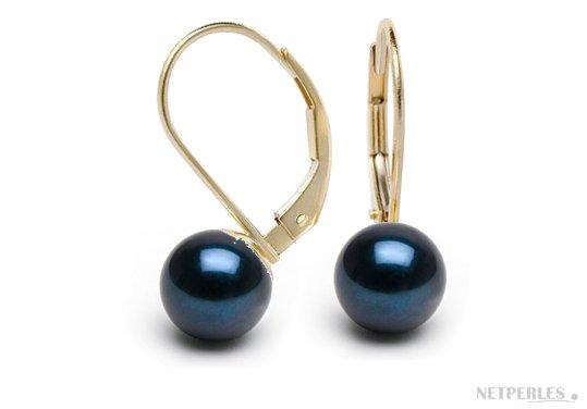 Boucles d'oreilles dormeuses or 18 carats et perles d'Akoya noires