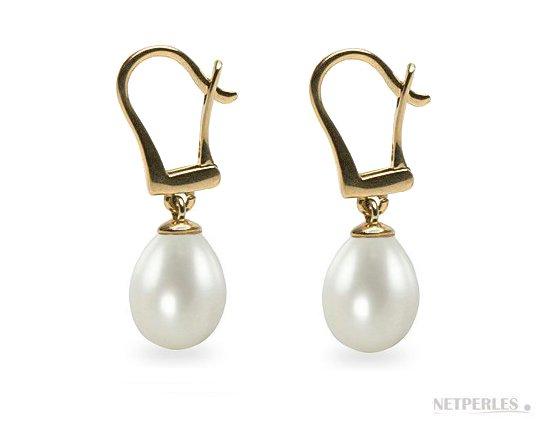 Boucles d'Oreilles en perles d'eau douce Goutte sur dormeuses en Or 14 carats