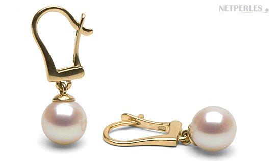 Boucles d'oreilles de perles d'eau douce Doucehadama avec dormeuse Or 14 carats