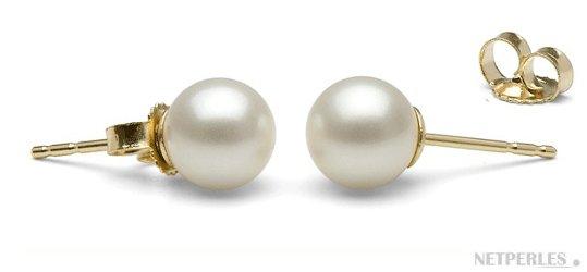 Paire de boucles d'oreilles de perles de culture d'eau douce blanches qualité AAA en Or Jaune
