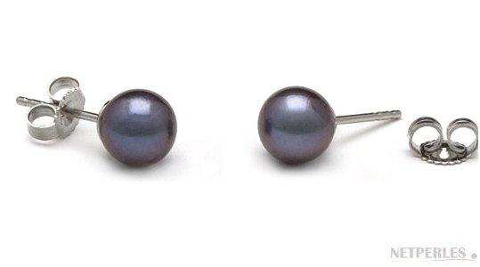 paire de boucles d'oreilles de perles d'eau douce noires qualité AAA